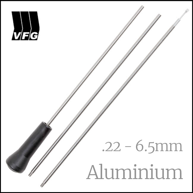 VFG 3 Piece Aluminium Cleaning Rod for .22 - 6.5mm, + Adaptor