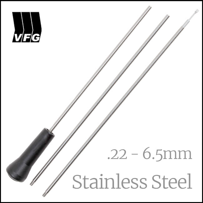 VFG 3 Piece Steel Cleaning Rod for .22 - 6.5mm, with Adaptor