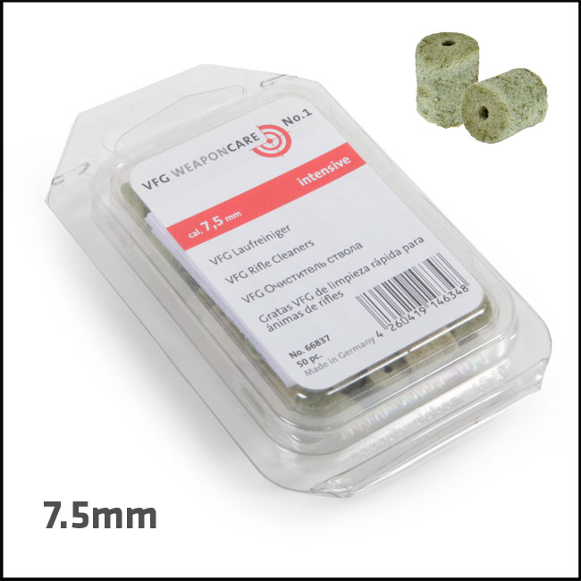 VFG Intensive Barrel Cleaning Felts for 7.5mm (Box of 50)
