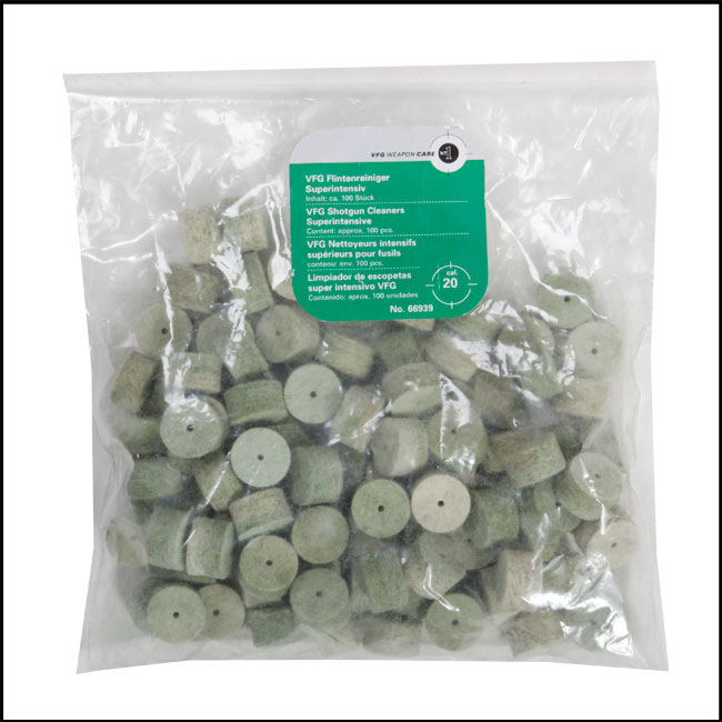VFG Intensive Barrel Cleaning Felts for 20 Bore (Box of 100)